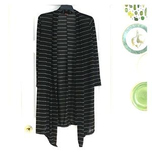 Hanger 55 Long Black Cardigan with Silver Stripes
